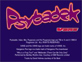Title screen of Psybadek on the Sony Playstation.