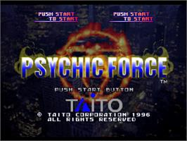 Title screen of Psychic Force on the Sony Playstation.