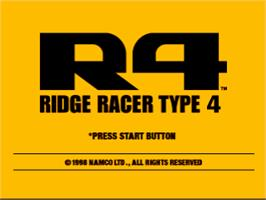 Title screen of R4 Ridge Racer Type 4 on the Sony Playstation.
