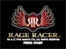 Title screen of Rage Racer on the Sony Playstation.