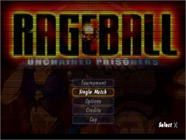 Title screen of Rageball on the Sony Playstation.