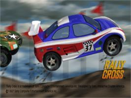 Title screen of Rally Cross on the Sony Playstation.
