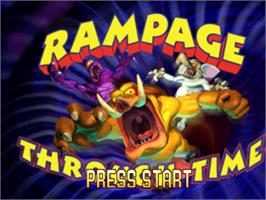 Title screen of Rampage Through Time on the Sony Playstation.