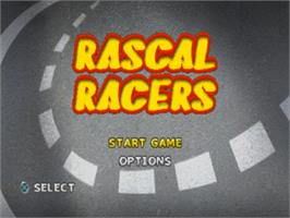 Title screen of Rascal Racers on the Sony Playstation.