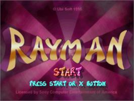 Title screen of Rayman on the Sony Playstation.