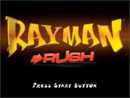 Title screen of Rayman Rush on the Sony Playstation.
