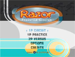 Title screen of Razor Freestyle Scooter on the Sony Playstation.