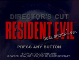 Title screen of Resident Evil: Director's Cut on the Sony Playstation.