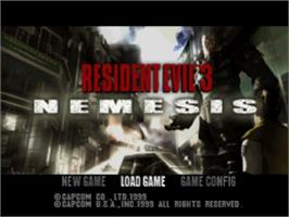 Title screen of Resident Evil 3: Nemesis on the Sony Playstation.