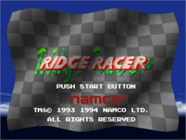 Title screen of Ridge Racer on the Sony Playstation.