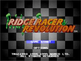 Title screen of Ridge Racer Revolution on the Sony Playstation.