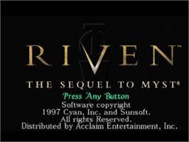 Title screen of Riven: The Sequel to Myst on the Sony Playstation.