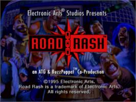 Title screen of Road Rash on the Sony Playstation.