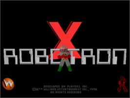 Title screen of Robotron X on the Sony Playstation.