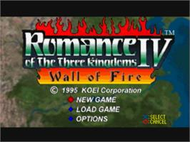 Title screen of Romance of the Three Kingdoms IV: Wall of Fire on the Sony Playstation.