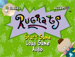 Title screen of Rugrats: Search for Reptar on the Sony Playstation.