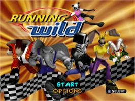 Title screen of Running Wild on the Sony Playstation.