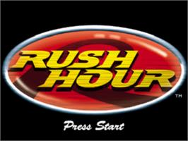 Title screen of Rush Hour on the Sony Playstation.