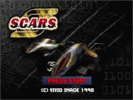 Title screen of S.C.A.R.S. (Super Computer Animal Racing Simulation) on the Sony Playstation.
