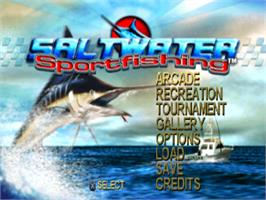 Title screen of Saltwater Sportfishing on the Sony Playstation.