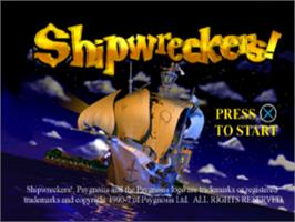 Title screen of Shipwreckers! on the Sony Playstation.