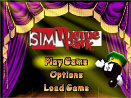Title screen of Sim Theme Park on the Sony Playstation.