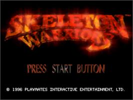 Title screen of Skeleton Warriors on the Sony Playstation.