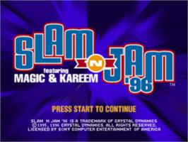 Title screen of Slam 'N Jam '96 featuring Magic and Kareem on the Sony Playstation.