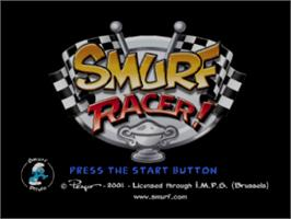 Title screen of Smurf Racer on the Sony Playstation.