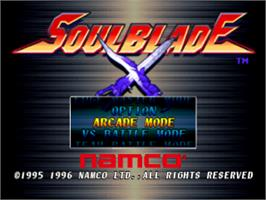 Title screen of Soul Blade on the Sony Playstation.
