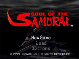 Title screen of Soul of the Samurai on the Sony Playstation.