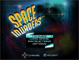 Title screen of Space Invaders on the Sony Playstation.