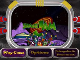 Title screen of Space Jam on the Sony Playstation.
