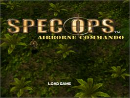 Title screen of Spec Ops: Airborne Commando on the Sony Playstation.