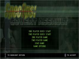 Title screen of Spec Ops: Covert Assault on the Sony Playstation.