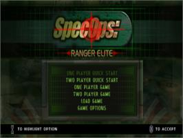 Title screen of Spec Ops: Ranger Elite on the Sony Playstation.
