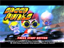 Title screen of Speed Punks on the Sony Playstation.