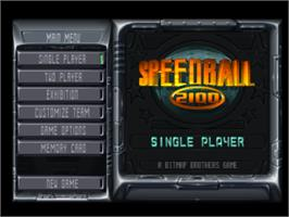 Title screen of Speedball 2100 on the Sony Playstation.