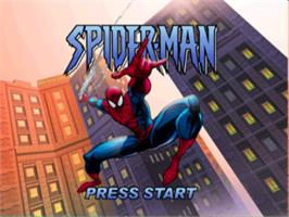 Title screen of Spider-Man on the Sony Playstation.