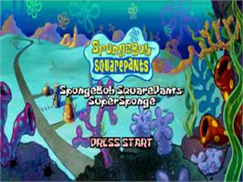 Title screen of SpongeBob SquarePants: SuperSponge on the Sony Playstation.