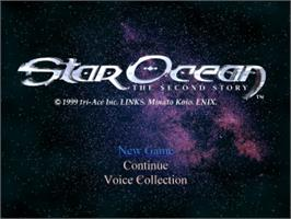 Title screen of Star Ocean: The Second Story on the Sony Playstation.