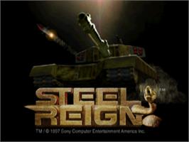 Title screen of Steel Reign on the Sony Playstation.