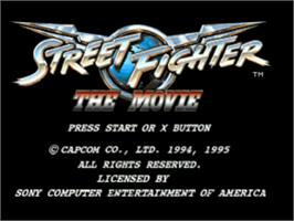 Title screen of Street Fighter: The Movie on the Sony Playstation.