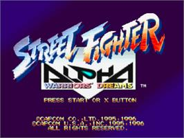 Title screen of Street Fighter Alpha: Warriors' Dreams on the Sony Playstation.