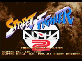 Title screen of Street Fighter Alpha 2 on the Sony Playstation.