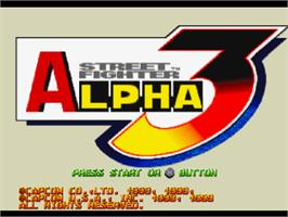 Title screen of Street Fighter Alpha 3 on the Sony Playstation.