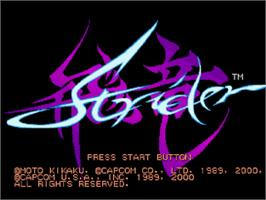 Title screen of Strider on the Sony Playstation.