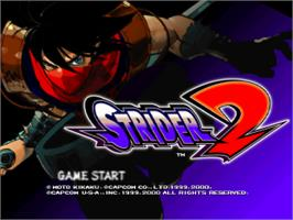 Title screen of Strider 2 on the Sony Playstation.