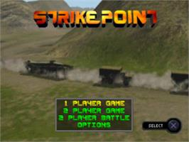 Title screen of Strike Point on the Sony Playstation.