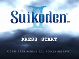 Title screen of Suikoden II on the Sony Playstation.